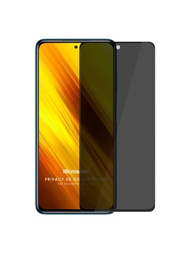 Microsonic Xiaomi Poco X3 Pro Privacy 5D Gizlilik Filtreli Cam Ekran Koruyucu Siyah Siyah